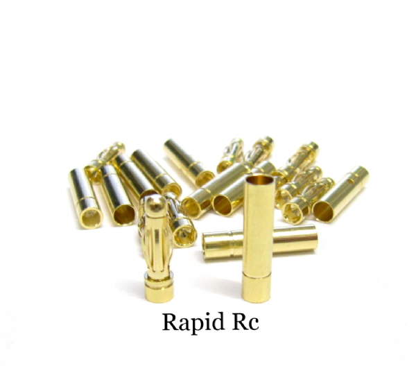 3mm Gold Connectors 10 PAIRS (20PC)